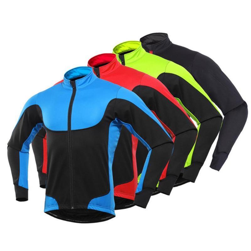 Мужчины Зима Спорт на открытом воздухе Термический с длинным рукавом велосипед Велоспорт пальто куртки флис подкладка пальто Теплый удобный спортивный R