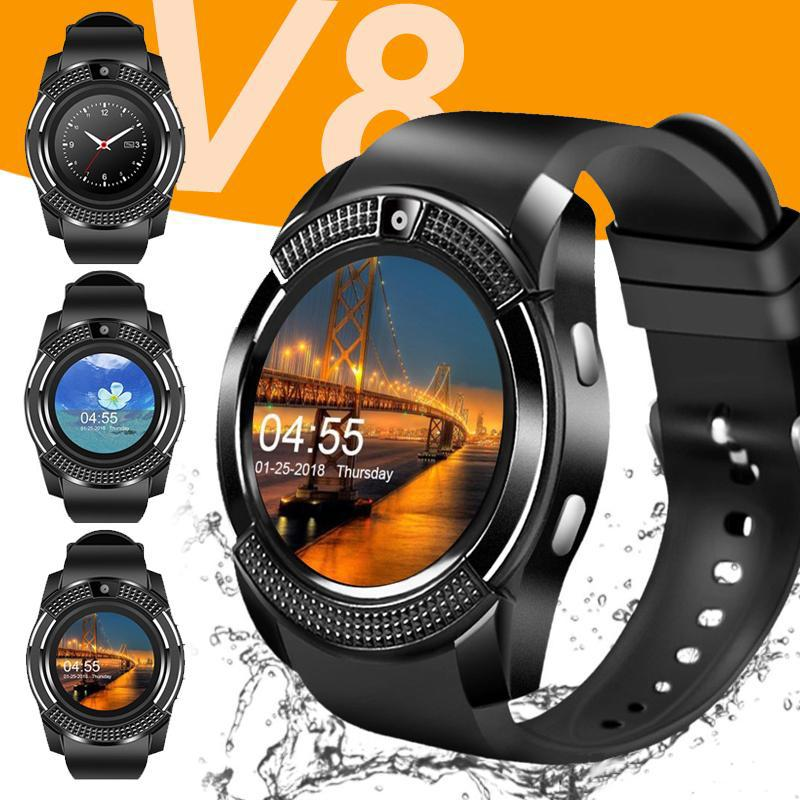 Hot Sale Bluetooth Smart Watch V8 SIM Card TF Card HD Circular Screen Smart Wrist Watch Phone smart watches wholesale with Retail Package