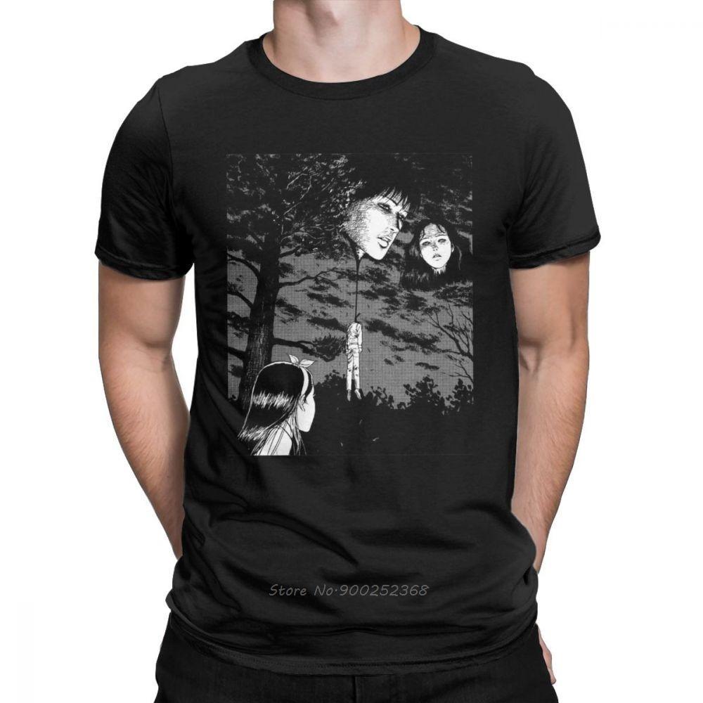 Junji Ito Anime Creepy homme Manga Japon Horreur T-shirt vintage à manches courtes Vêtements T-shirts en coton imprimé T-shirts
