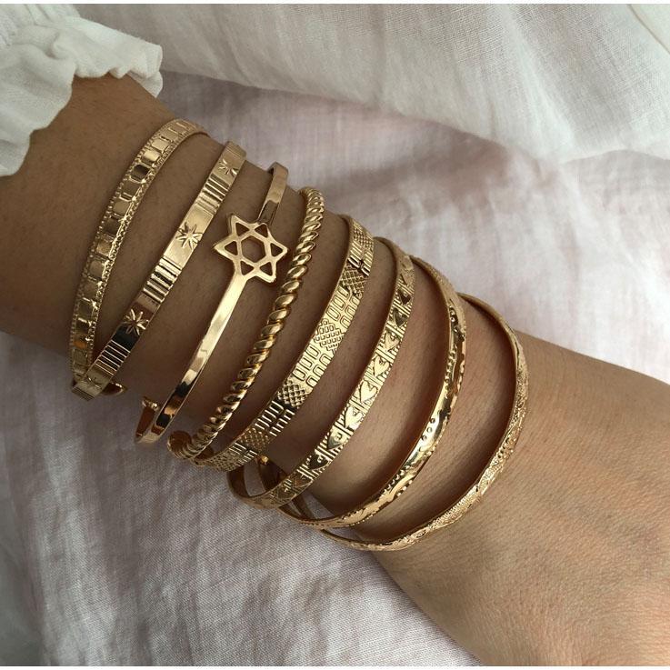 Hot Sale 2Pcs/Lot Lady Fashion Bracelets Geometric Letter Glyph Opening Gold Color Bracelet Bohemian Charm Beach Jewelry Love Gift for Women