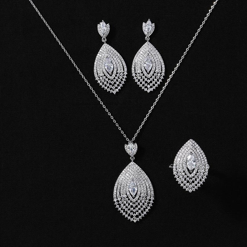 Ensemble de bijoux HADIYANA Bague Collier Vintage et boucles d'oreilles pour femmes de haute qualité Parti Zircon CN992 Conjunto de joyas