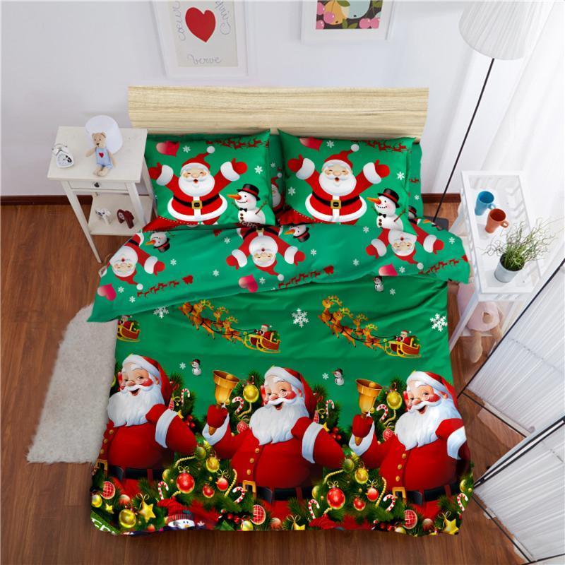 ديكور غرفة نوم سانتا كلوز فرش السرير الكرتون مجموعة مفروشات 3D المطبوعة غطاء لحاف وسادات عيد ميلاد سعيد هدايا عيد الميلاد
