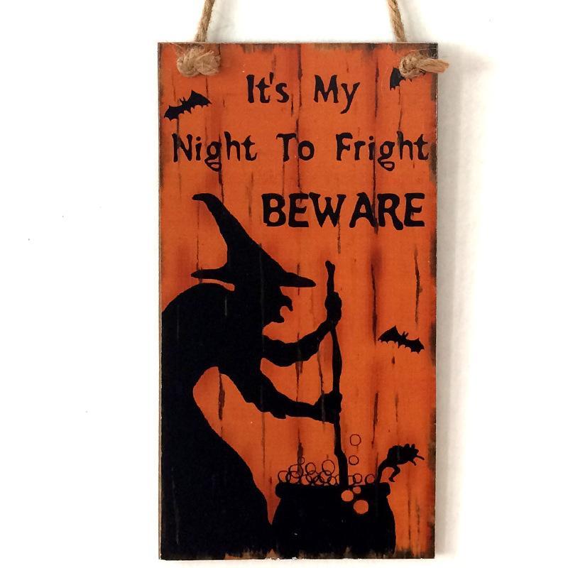 Colgando de Halloween Prop signo positivo de la bruja de la calabaza de tabla de madera para el hogar puerta de la ventana decoración de la pared GWD1777