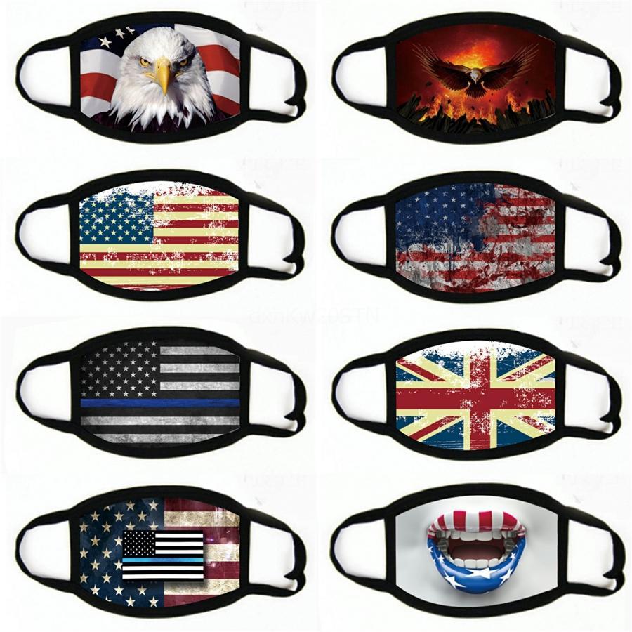 Amerikanische Flagge Maske 2020 amerikanischen Druck Staubdichtes Fashion Ice Silk Mundschutz Stoff Waschbar Masken # 711