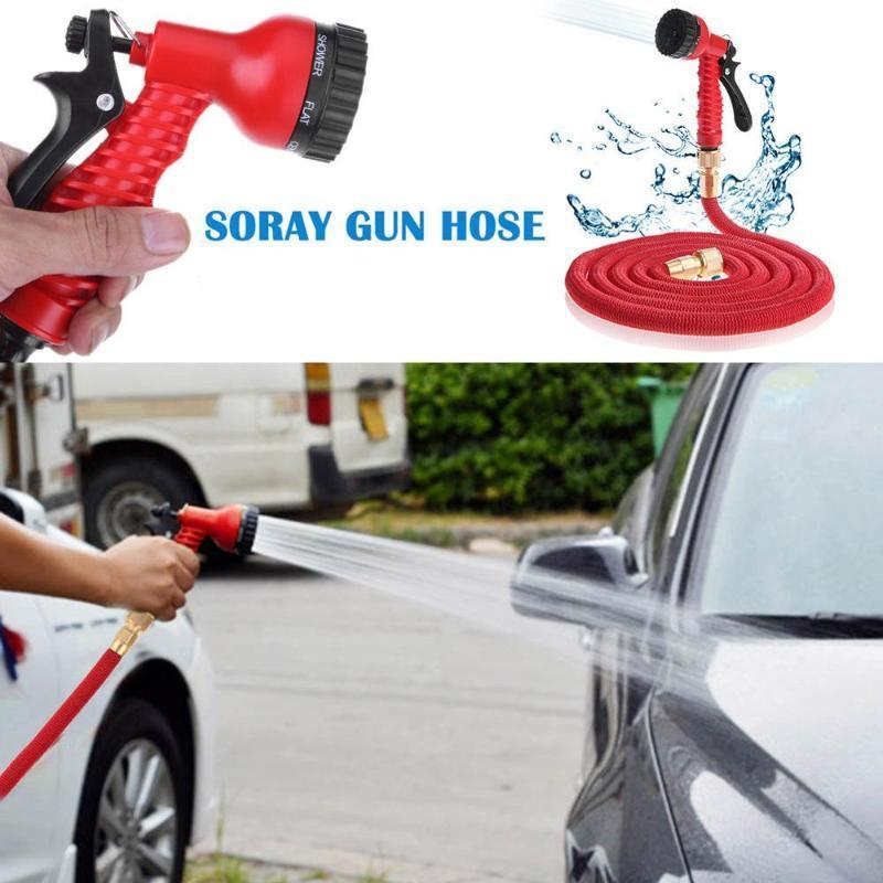 25FT-100FT Garden Hose Pipe With Spray Gun Expandable Flexible Water Sprayer To Watering Car Wash Spray Nozzle Gun Plastic Hose