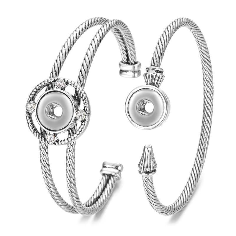 Vocheng 2 stili retrò rame Ginger Snap braccialetto per le donne con lusso strass 12 millimetri Petite pulsante dei braccialetti NN-735