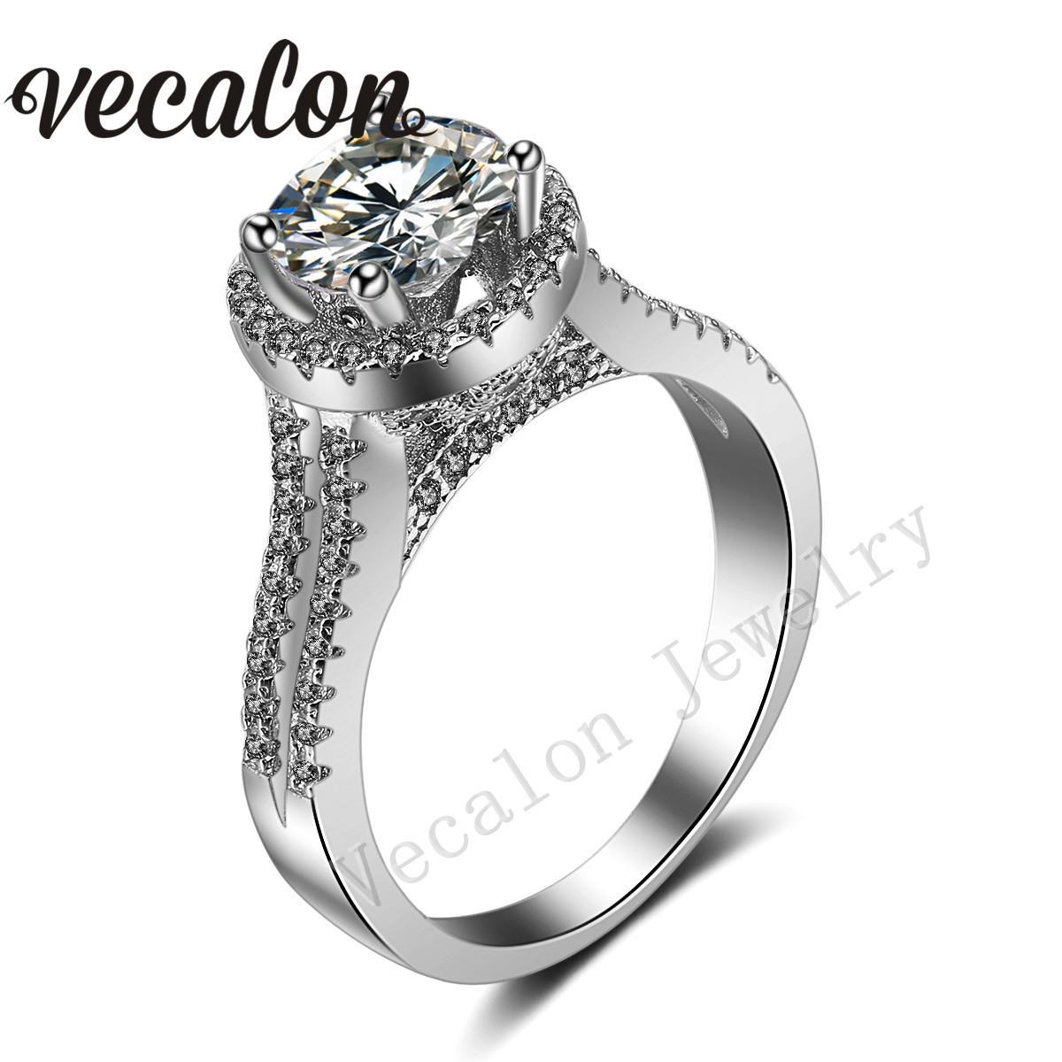 Vecalon Crown Ehering-Set für Frauen Rundschnitt 3ct Simulierter Diamant Cz 925 Sterlingsilber-Female-Verpflichtungs-Band-Ring