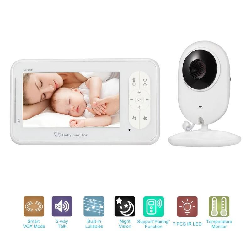 Baby Monitor 4.3Inch vídeo sem fio 2 Way Discussão Baby Monitor com Câmeras Suporte para câmera 4 Modo VOX monitorização da temperatura IR Nig