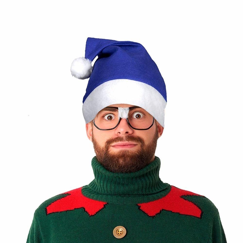 12 pz Pack Blue Santa cappello di feltro di Natale