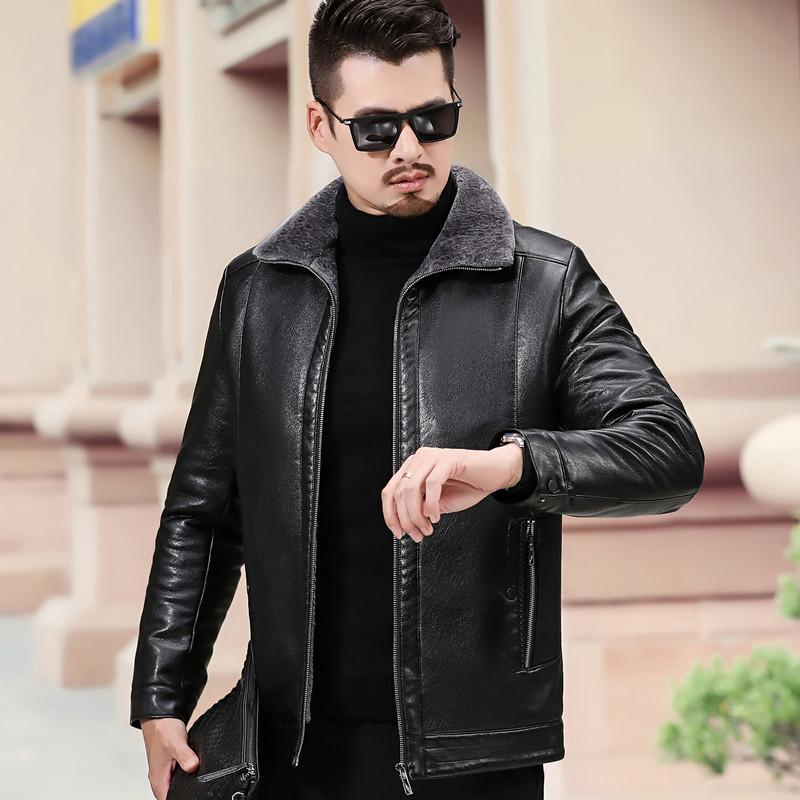 homens de couro couro de meia-idade e idosos espessamento lapela fertilizantes aumentou pele integração e casaco de lã, inverno