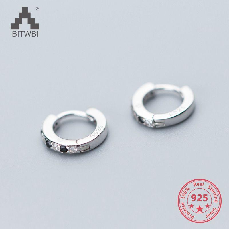 Coreia do estilo Hot Pure 925 Sterling Silver Simples Moda Chic Zirconia Stud Brincos Jóias para Mulheres