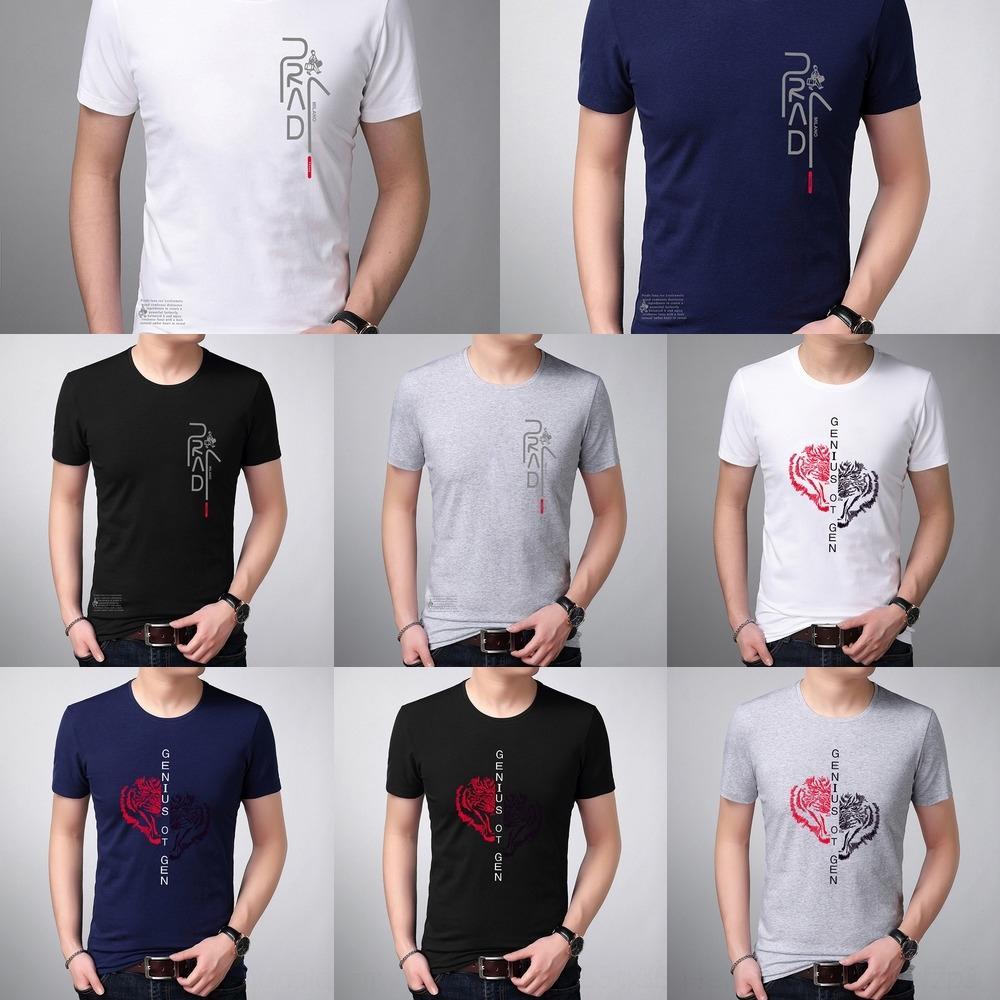 mWBWE coton à manches courtes T-shirt tendance T-shirt 2020 vêtements de cou d'âge moyen lettre ronde hommes coréens été demi-manches imprimées