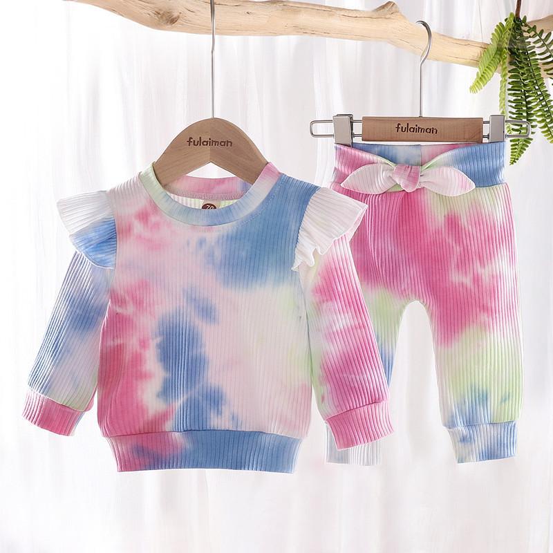 Baby Girl Одежда галстук для одежды Красящая одежда с длинным рукавом Лучшие брюки лук 2 шт. Модные младенцы носить бутик одежды галстуки для одежды
