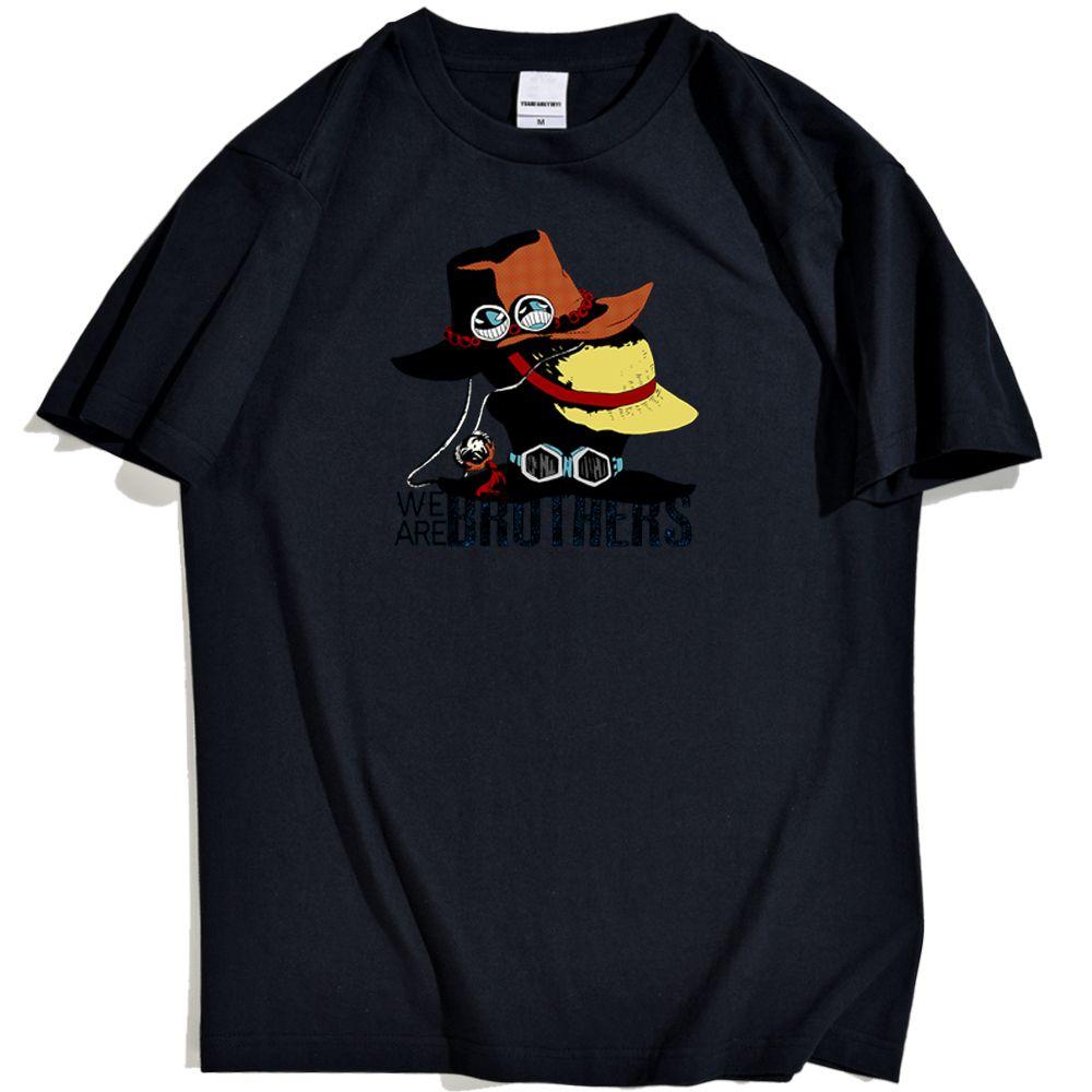 Una pieza de Japón del animado camisetas del hombre Luffy Tres hermanos tocado Tee camisas para hombre camisa de los hombres de cuello redondo Marca Harajuku Tee