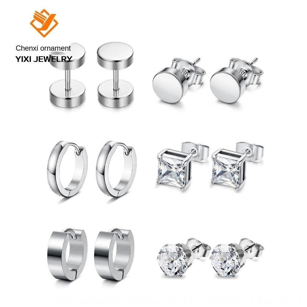 eLPCa Zirkon gemischt und Set aus rostfreiem Stahl und weise Zircon gemischt und Satz Edelstahl Ohrringe Ohrringe Mode
