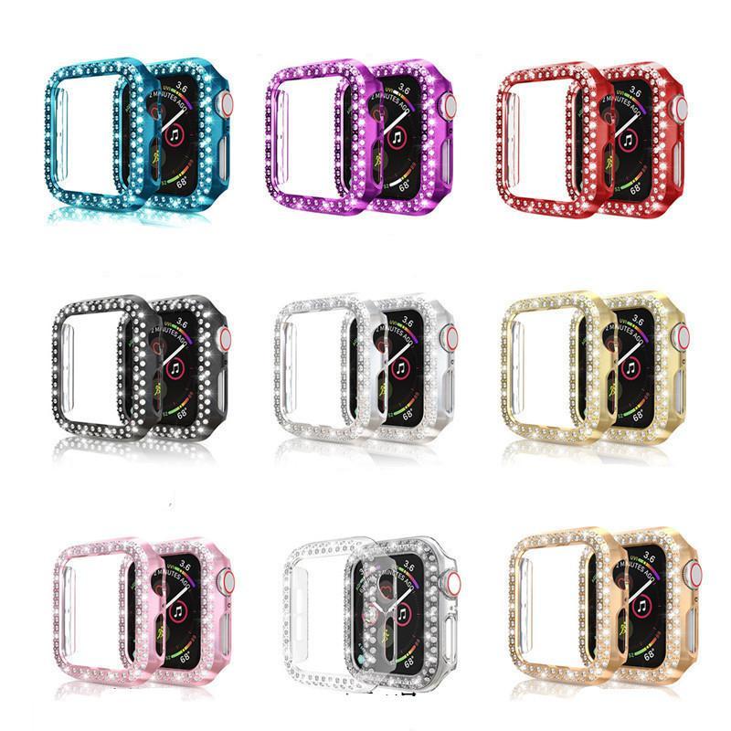 애플 시계 세대 2 3 4 5 다이아몬드 전기 도금 PC 액세서리 9 개 색상 착용 할 수있는 기술에 대한 보호 케이스