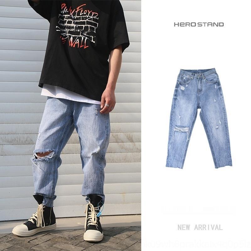 qualidade primavera e jeans e HOSD verão nova de rua soltos buracos azuis rebarbas da forma dos homens lavados todo-jogo calça jeans ApYi2