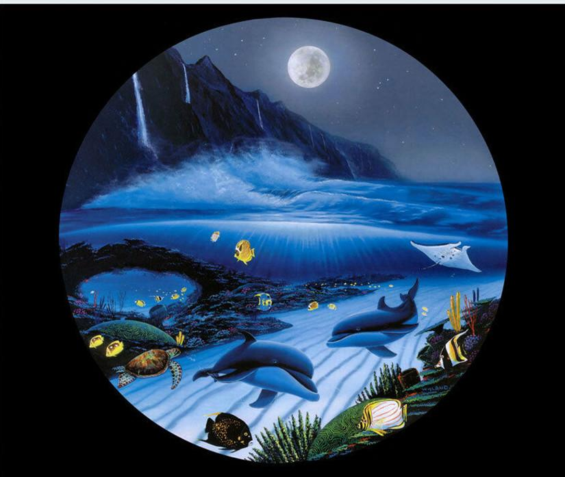 Robert Wyland Moonlight Serenade Decoración pintado a mano de la impresión de HD pintura al óleo sobre lienzo de arte cuadros de la pared de la lona 7569