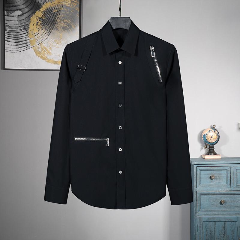 Personnalisé S ~ 6XL !!! nouvelle nouvelle tendance européenne mâle décoration zipper shirt loose casual Chemise à manches longues, plus la taille