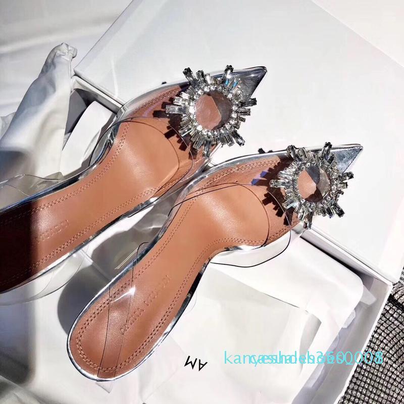 Perfekte Offizielle Qualität Amina Schuhe Begum Kristall-verschönerte Pvc Sling Pumpen Muaddi Nachlieferungen Begum Pvc Slingbacks 10cm High Heel k08