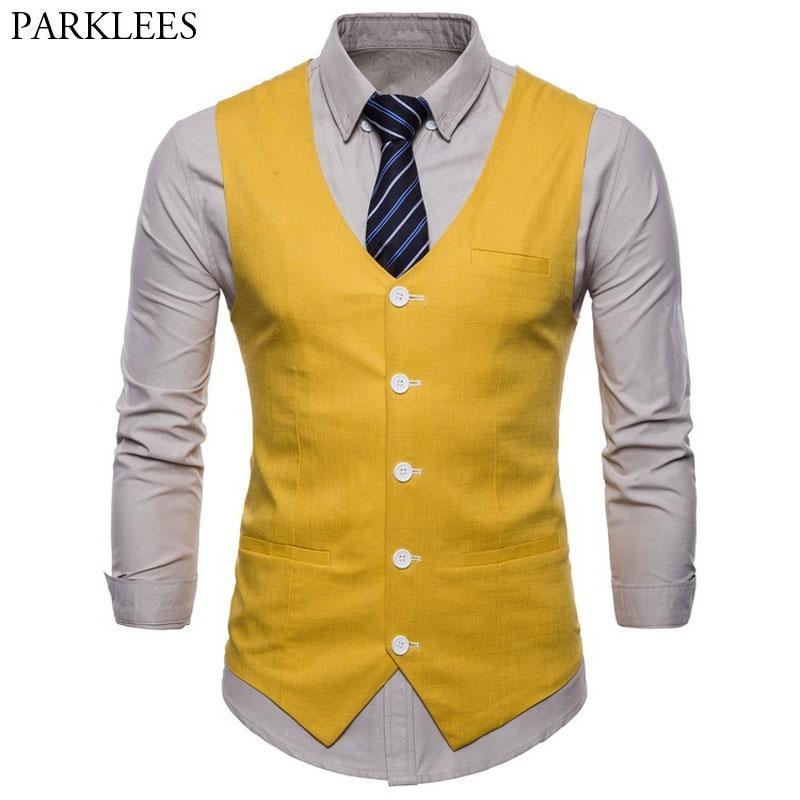Casual Pamuk Keten Erkek Takım Elbise Yelek Slim Fit Tek Breasted Kolsuz Yelek Erkek Beyaz Sarı Yeşil Turuncu Açık Mavi M-4XL 200922