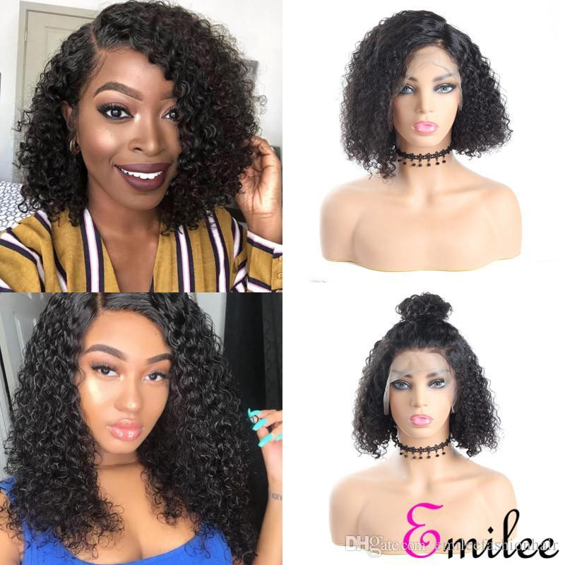 Emilee Jerry Curly Short Bob Wigs Indian Half Lace Human Remy Hair Wigs Pre-Plucked Short Curly Bob Wigs 12 inch