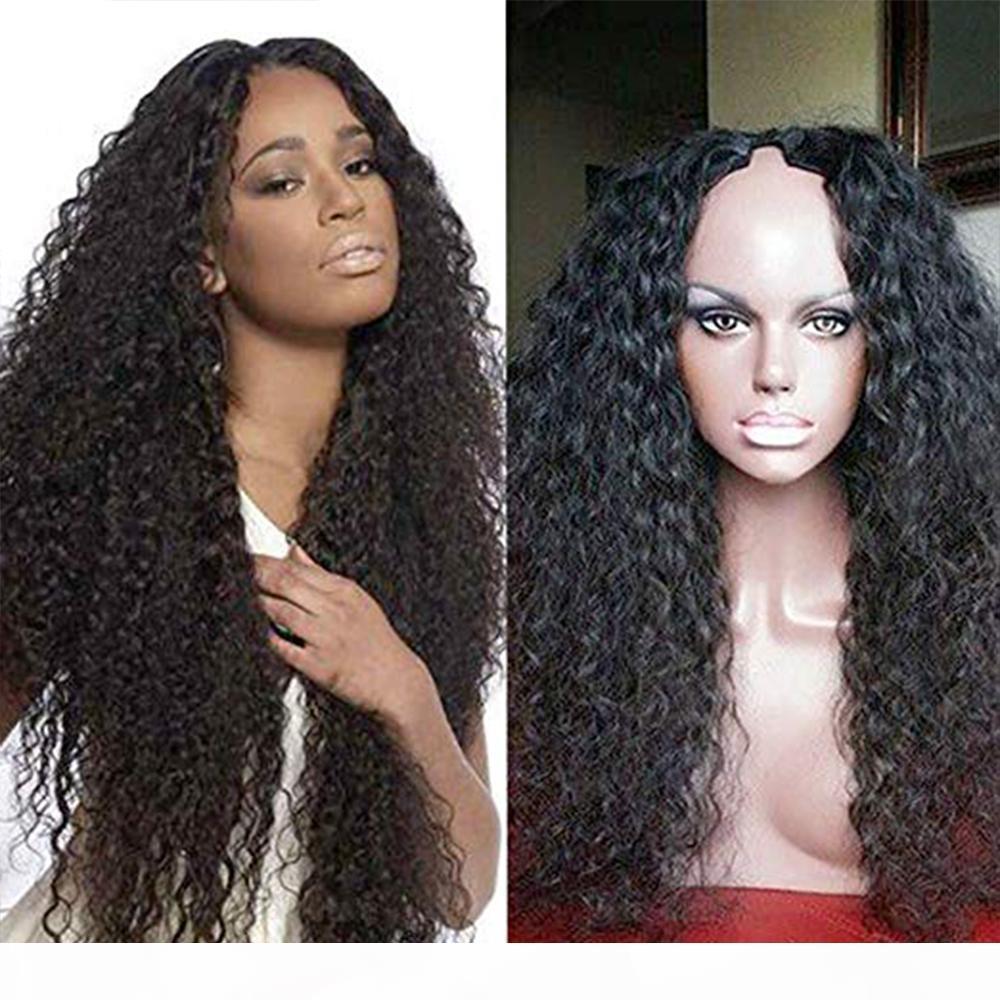 100% Remy brésilien cheveux bouclés non transformés 2x4 Moyen U Partie Perruques 100% cheveux humains Moyen Ouverture perruque avec Combs Pour les femmes noires