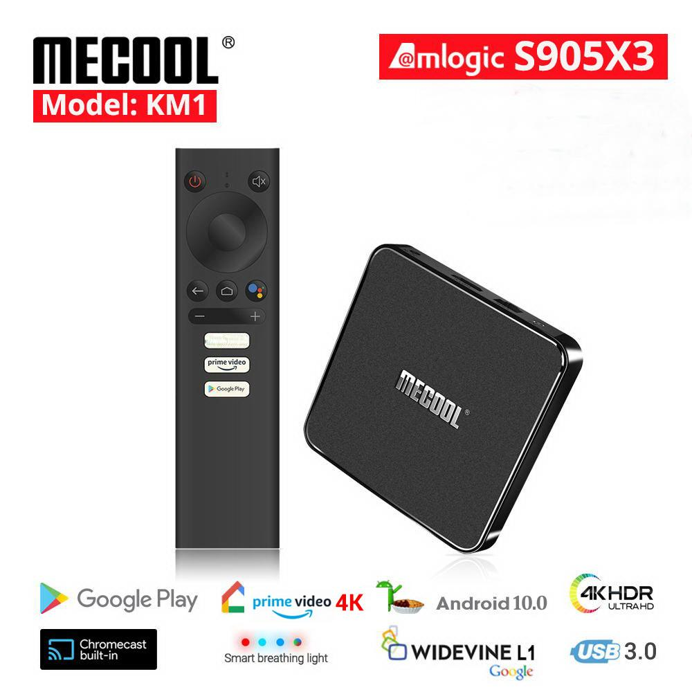 KM1 TV Box AndroidTV 4GB 32GB Amlogic S905X3 Android 10 2.4G/5G Wifi Widevine L1 Google Play Prime Video 4K Voice Set Top-Box