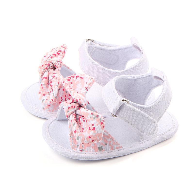 Сладкое лето детская обувь Девушка принцессы Большой лук зеленый Первая ходунки Soft Soled Anti-Slip Детская обувь 0-12M