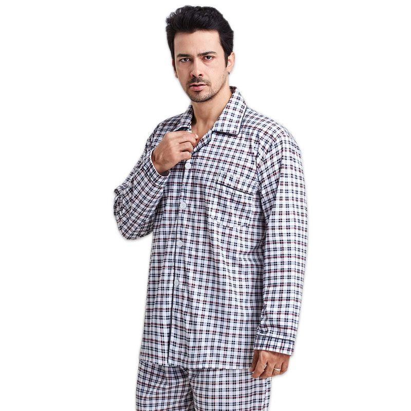 Neuer Frühling einfachen Plaidbaumwolle Mann Nachtwäsche langen Ärmeln Pyjama homme lässige Herren Baumwolle Männer Nachtwäsche Pyjama-Sets