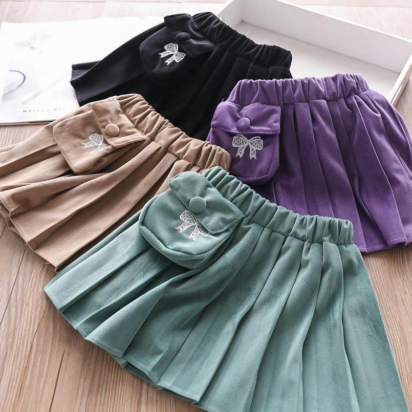 4color moda cep kız etek Pileli çocuk etek ilmek kız şort etek çocuklar tasarımcı kıyafetleri kızlar giysi çocuklar elbise B2147