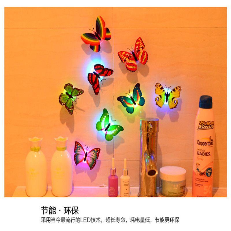 새로운 다채로운 변경 나비 LED 밤 조명 램프 나비 LED 벽 스티커 홈 룸 파티 데스크 벽 장식 조명