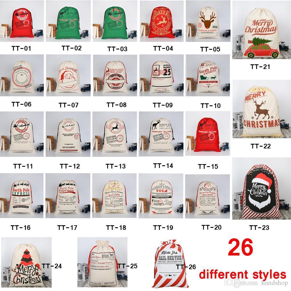 Bolsas de regalo de Navidad 50 * 70cm orgánicos pesados lona Bolsa Saco de Santa con asas con los renos de Santa Claus saco Bolsas para niños