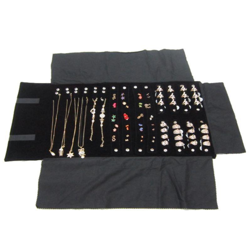 Roll Bag Velvet monili dell'anello del viaggio Organizer Portable orecchini bagagli leggero collana multifunzionale display pieghevole