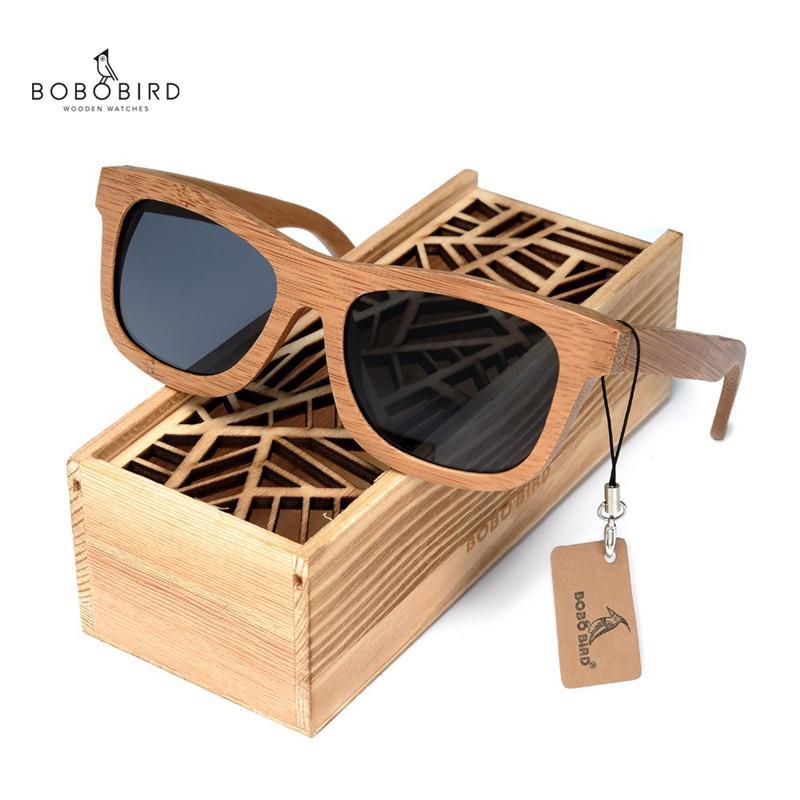 БОБО BIRD Мужчины Вуд Солнцезащитные очки площади Женские Поляризованные очки УФ-защиты женщин Bamboo солнцезащитные очки люнеты Femmes Solaire