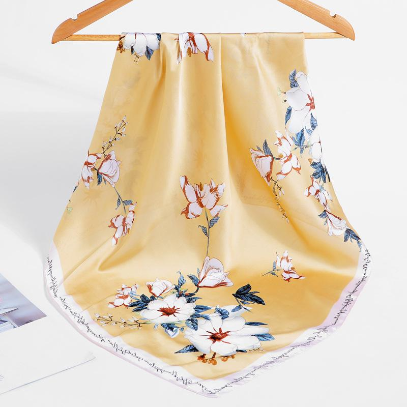 2020 Moda lenço de seda lenço no pescoço para mulheres Imprimir Hijab Cachecóis Feminino pequeno quadrado Senhora xales e Wraps Lenços 70 * 70cm