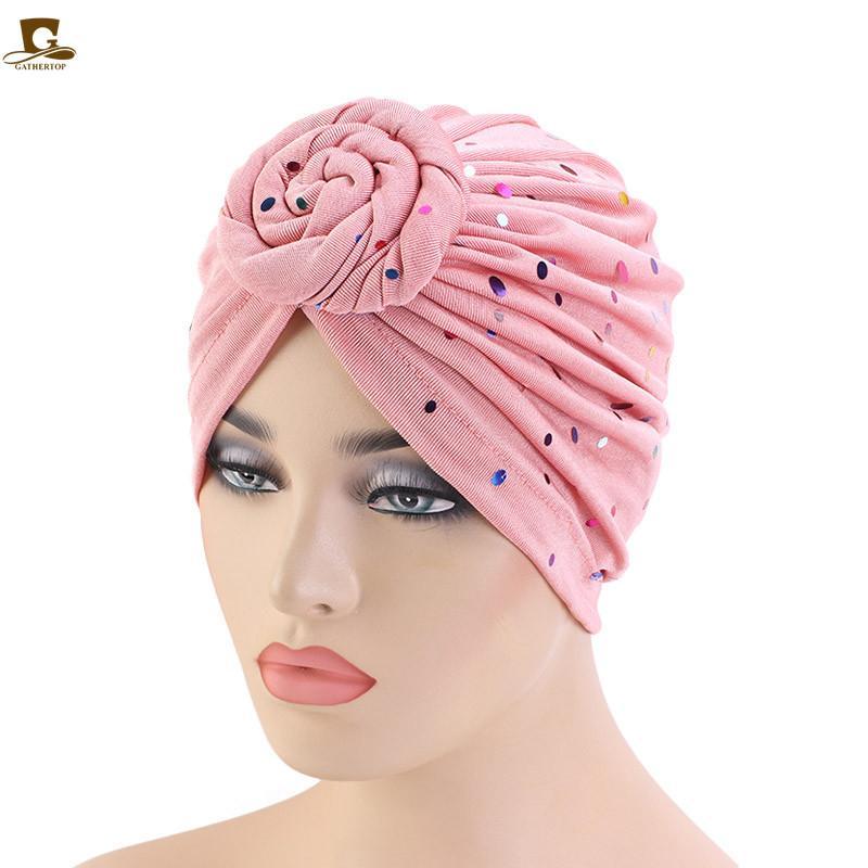Новые Caps блестками цветок Тюрбан для женщин Химиотерапия Hat Женский оголовье повязок мусульманская Cap Химиотерапия Cap Аксессуары для волос