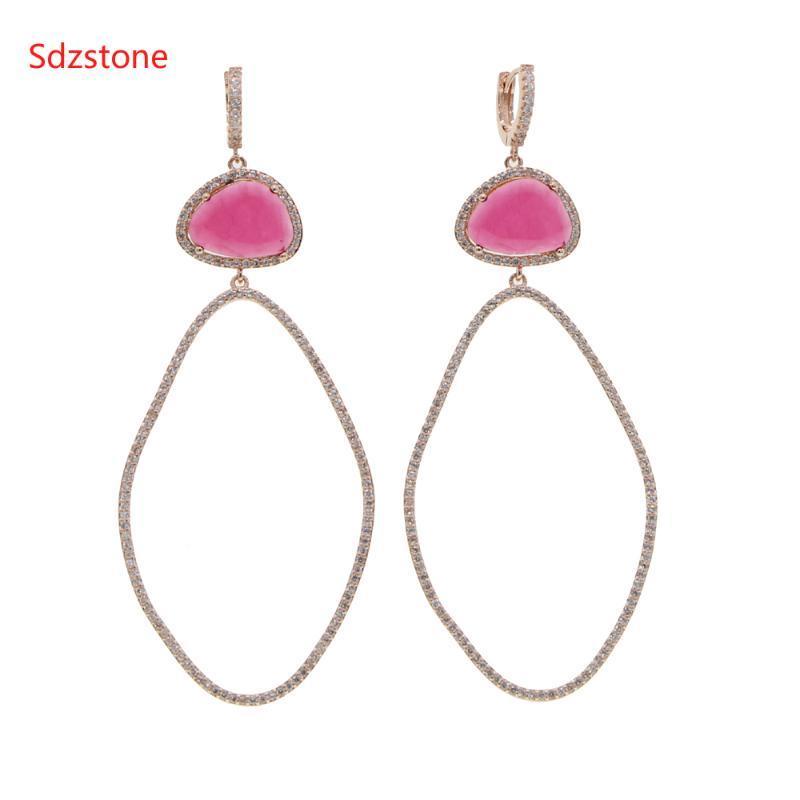 Sdzstone 70*34mm Big Size Women Oval Earring Wiht Pink Green Big Zircon Fashion Dangle Ear Jewelry