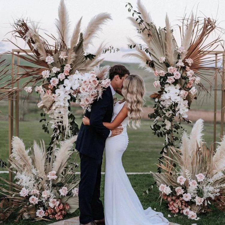2021 Phragmites Natural seco Decorativo Pampas Hierba para el hogar Decoración de la boda Manojo de flores 56-60 cm