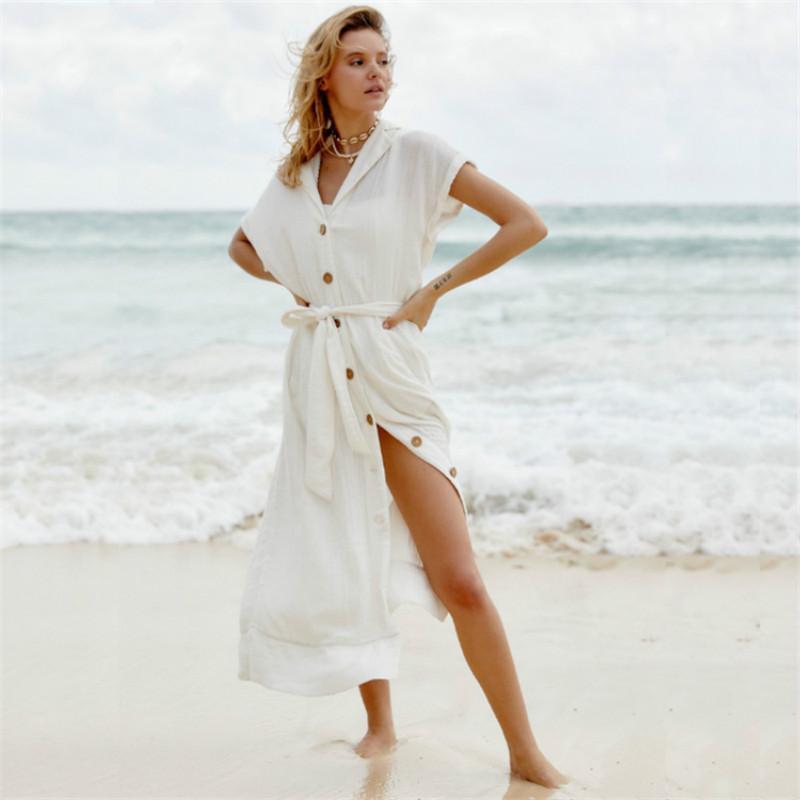 FORERUN Summer Long Shirt Dress White Bohemian Beach Dresses Split Short Sleeve Cardigan Holiday Maxi Vestidos
