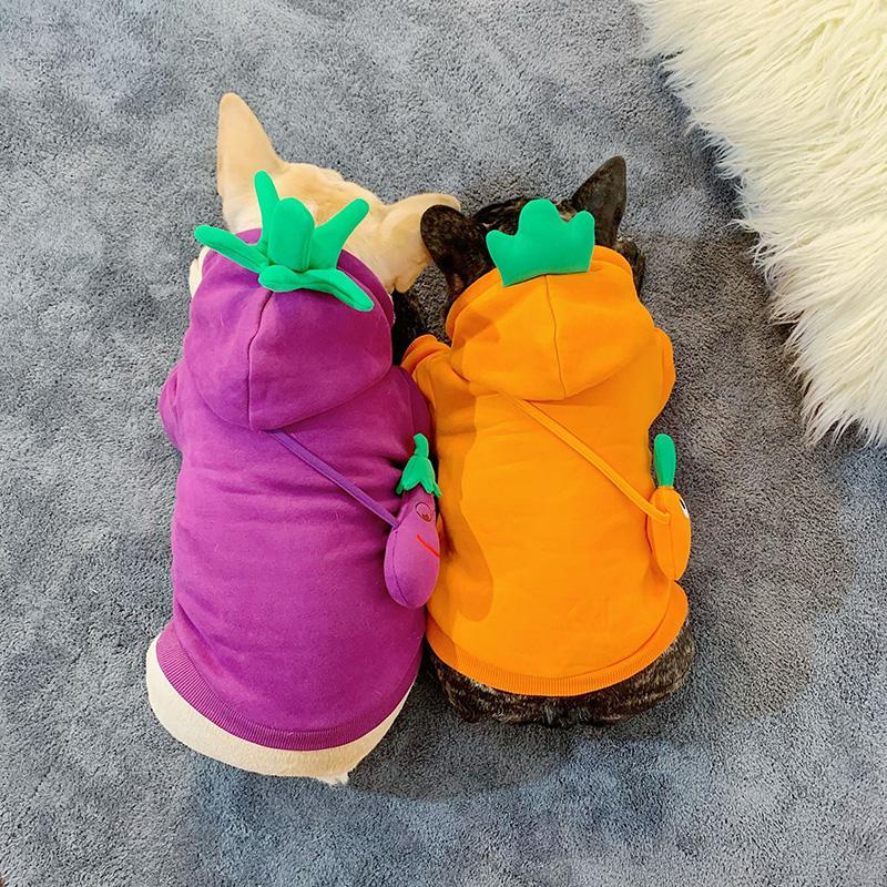 Смешных фрукты Малых собак Толстовка Cute Teddy Бульдог шнауцеры Pet фуфайка Осень Зима Открытый Теплый собак Одежда