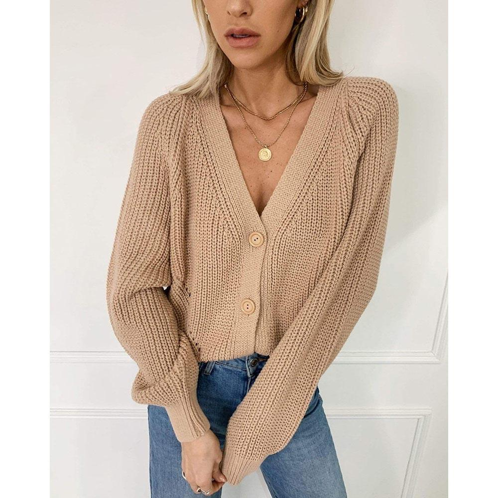 Cardigan Sweaters Tops Women Autumn 2020 New Knitted Loose Casual Solid Color V Neck Lantern Sleeves Button Jacket Wholesale New