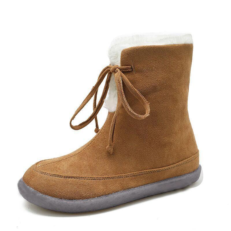 Snow Boots Женщины лодыжки обувь Зимняя дамы Flats вскользь теплая Узелок Плюшевые Мода Плюс Размер обуви Женский Non скольжению 2020 LJ200910