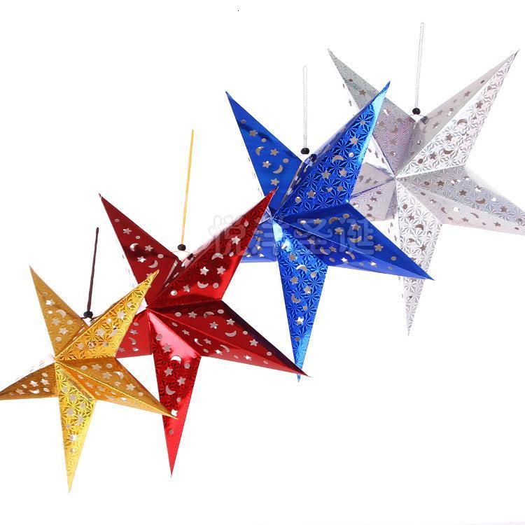 2020 30 centímetros de cinco estrelas de layout cena de Natal estrela abajur ornamento lanternas de papel Detalhes