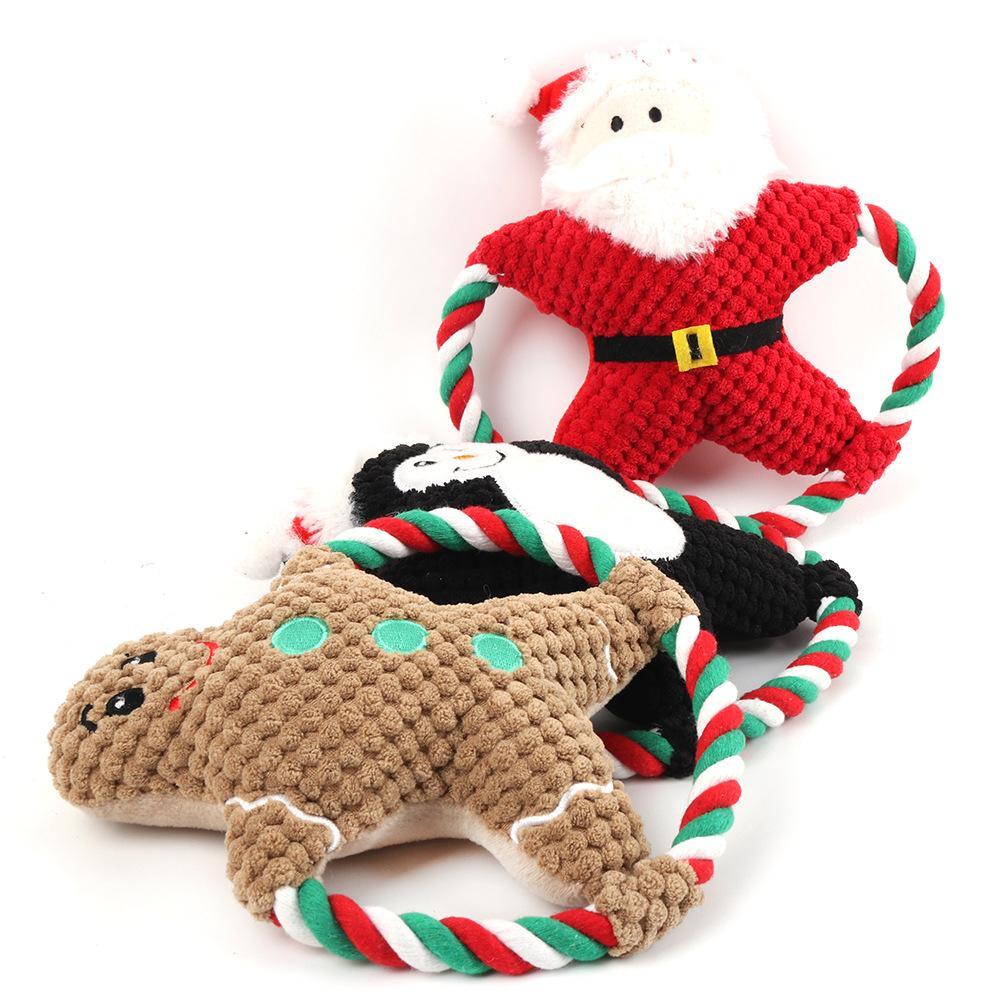 الكلب مولار دغة لعب سانتا الزنجبيل الرجل الكلب الدمية الجرو القطيفة صوتي لعب عيد الميلاد الكلب هدايا OWF1702