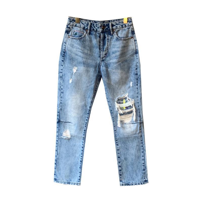Pantalones de las mujeres 2019 otoño invierno ajuste fino de la bufanda de los pantalones vaqueros
