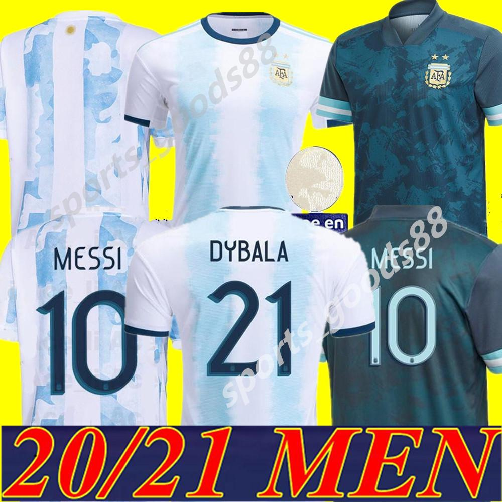 20 21 Argentina Home Messi Argentina Soccer Jersey 2020 2021 Homens Futebol Jersey Higuain Icardi Kun Aguero Soccer Camiseta
