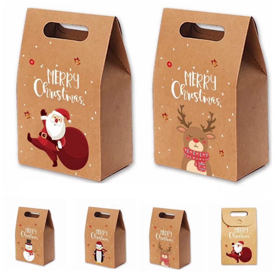 التفاح هدية عيد الميلاد أكياس ورق كرافت خمر كاندي حزب حالة هدية عيد الميلاد سانتا ثلج اليد حقيبة ملفوفة حزمة زينة RRA3551