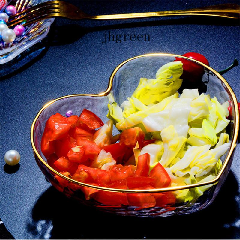 Glass Bowl Fruit Salad Cakes And Pastries Loading Bowl Transparent Love Type Bowl Special Glass Dessert Shop Decoration Props