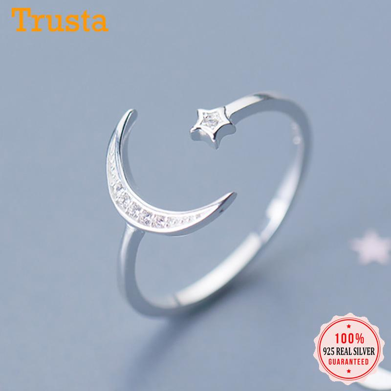 Trustdavis real de 100% 925 Sterling Silver Moda Moon Star CZ coquetel de abertura DA1122 Anel For Women Wedding Party S925 Jóias